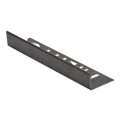 Straight Edge Brushed Anthracite Stainless Steel Tile Trim 2.5m By Premtool