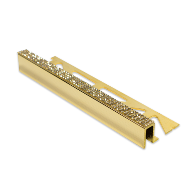 Diamond Plus Square Edge 24K Gold Tile Trim 11mm 2.5m Length
