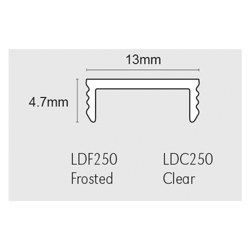 13mm x 4.7mm Flatlite® Diffuser Plate For LLA Listello Profile 2.5m By Genesis