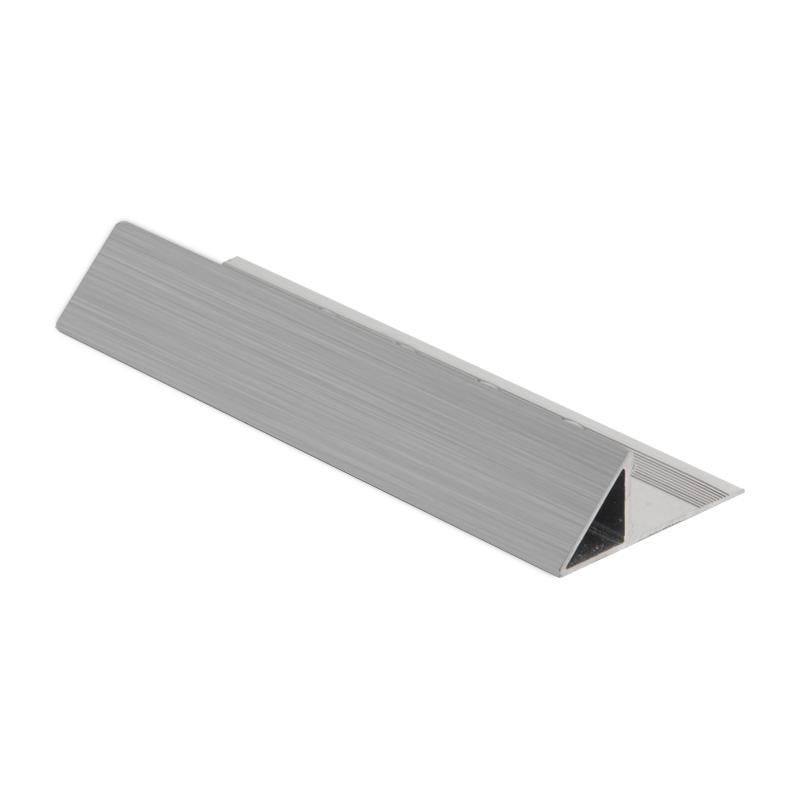 brushed chrome triangular tile trim eat by genesis. Black Bedroom Furniture Sets. Home Design Ideas