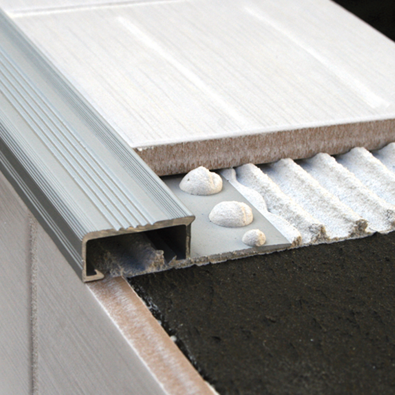 Aluminium Tile In Stair Nosing NLM 3.0m Length (matte Silver) By Genesis