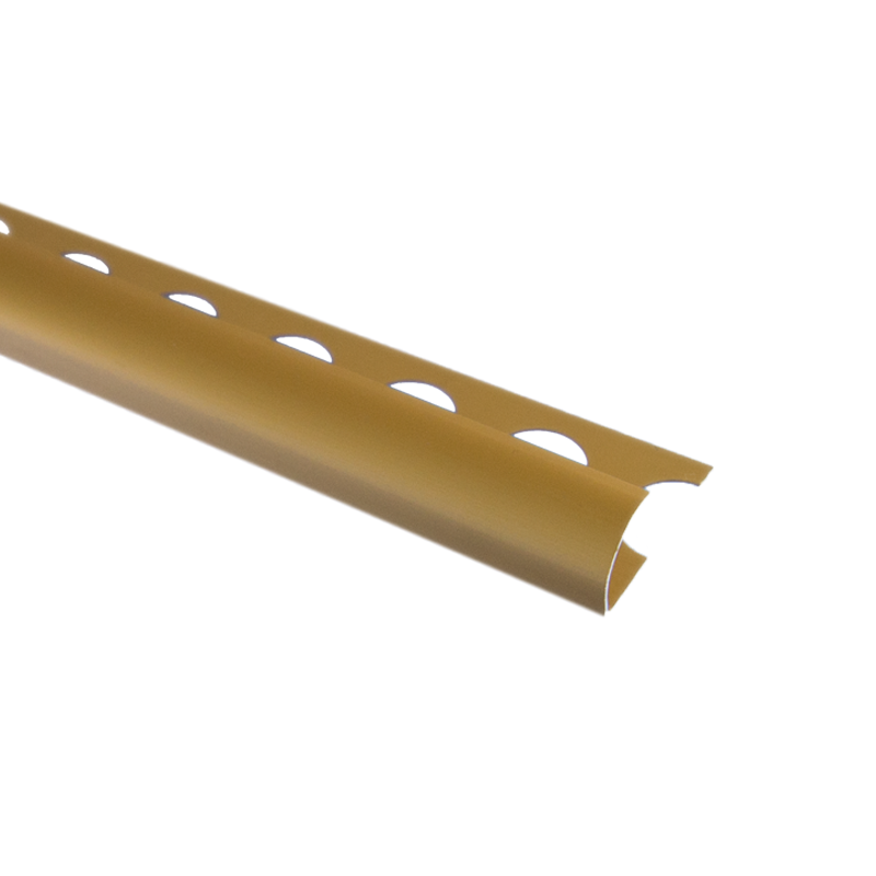 Trade Metal Round Edge Matt Gold Tile Trim 2.5m Length by Pro Tile Trim