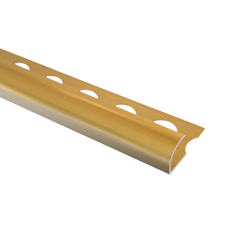 Trade Metal Round Edge Bright Gold Tile Trim 2.5m Length by Pro Tile Trim