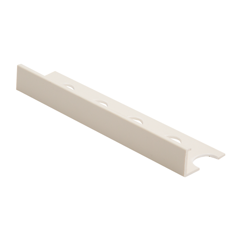 Contract Straight Edge Plastic Tile Trim Soft Cream