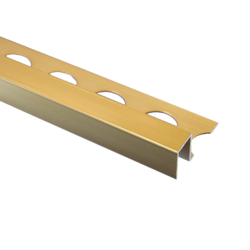 Trade Metal Square Edge Bright Gold Tile Trim 2.5m Length by Pro Tile Trim