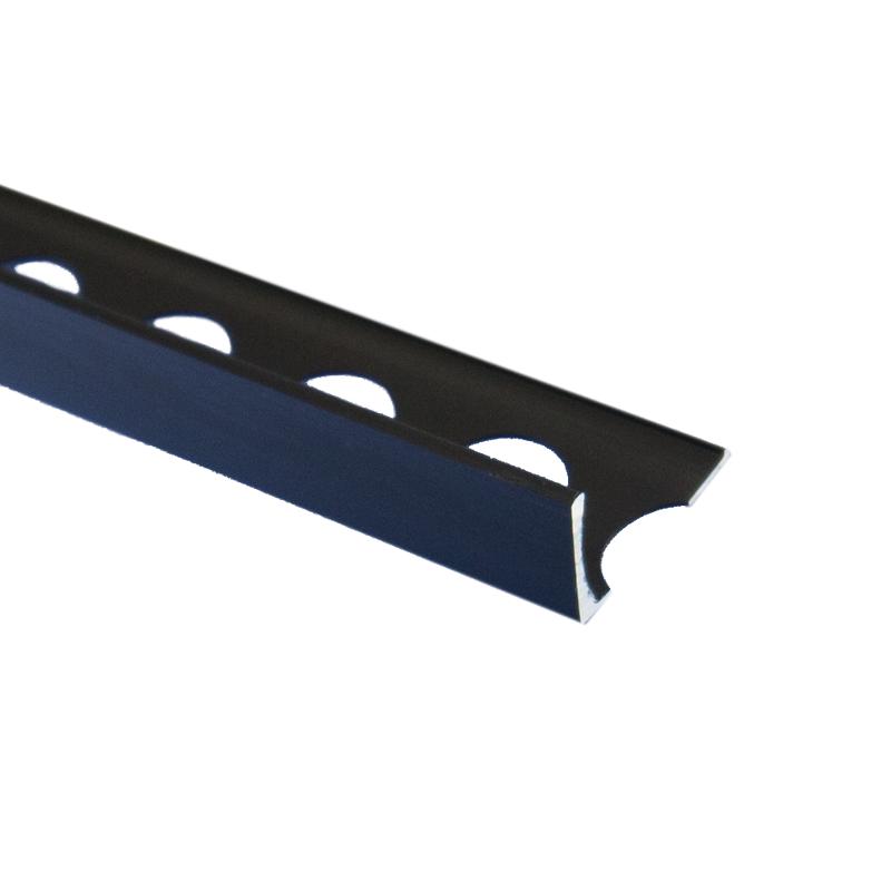 Matt Black Metal Square Edge Box Section Trade Tile Trim 2.5m Length