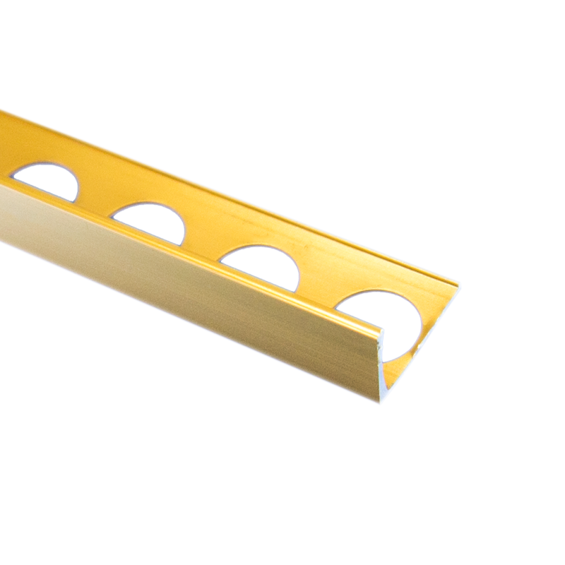 Trade Metal Straight Edge Bright Gold Tile Trim 2.5m Length by Pro Tile Trim